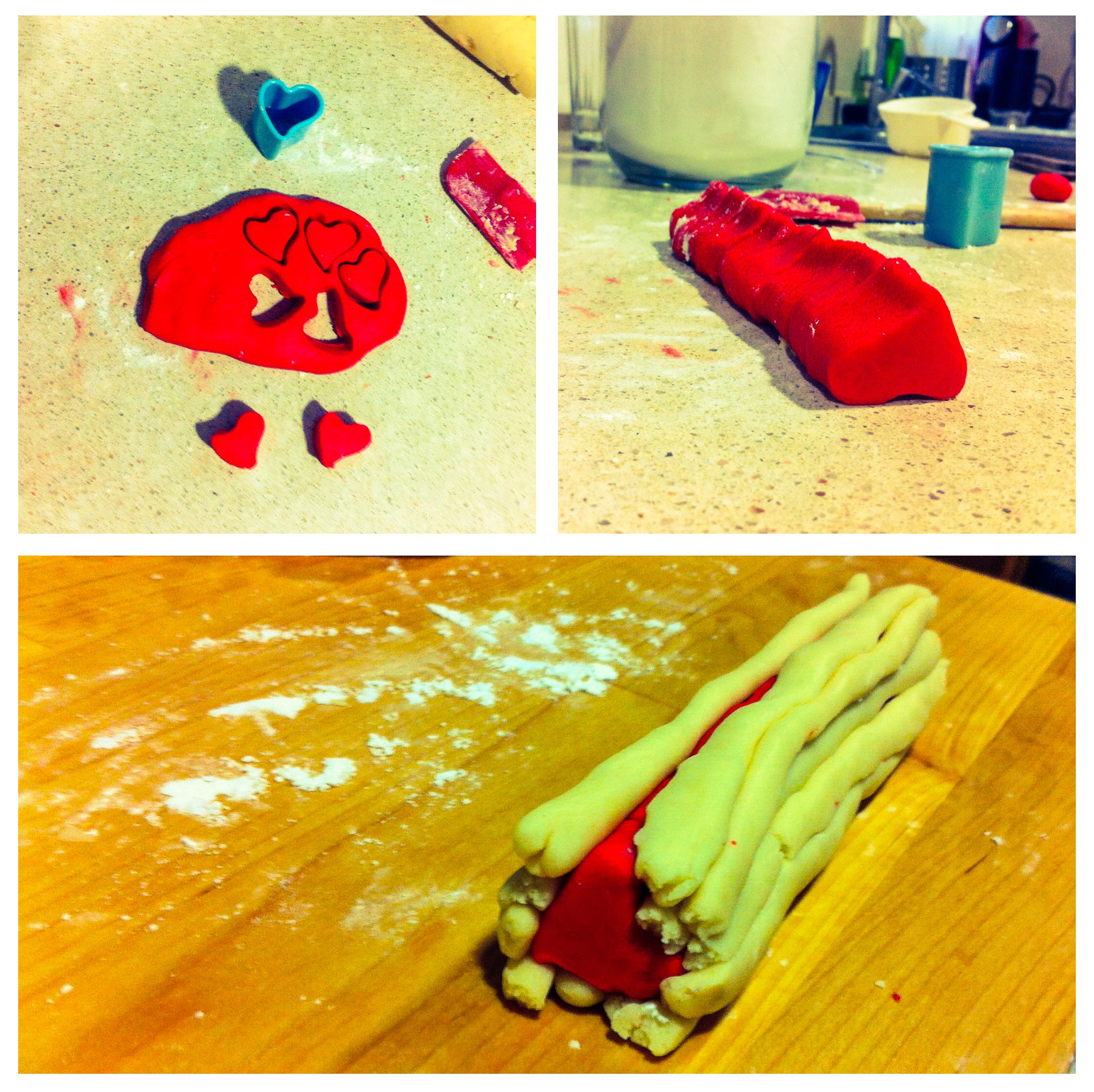 making of galletas de corazones