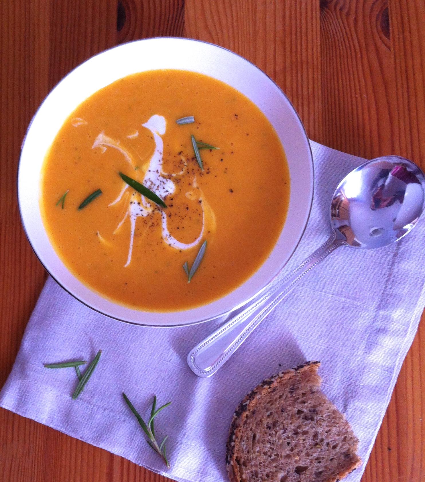 sopa de calabaza y coco