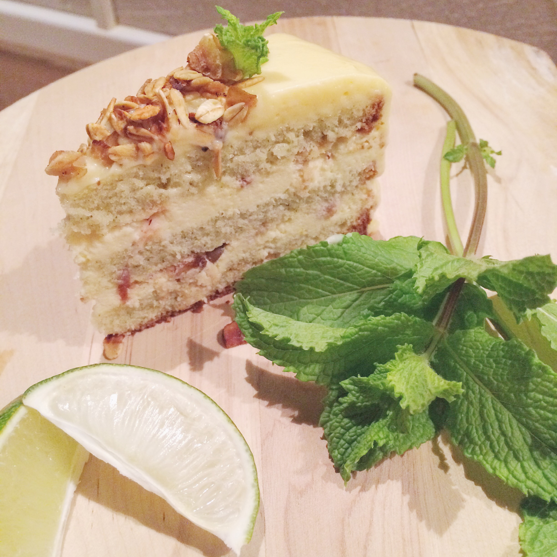tarta de menta, yogur y limón